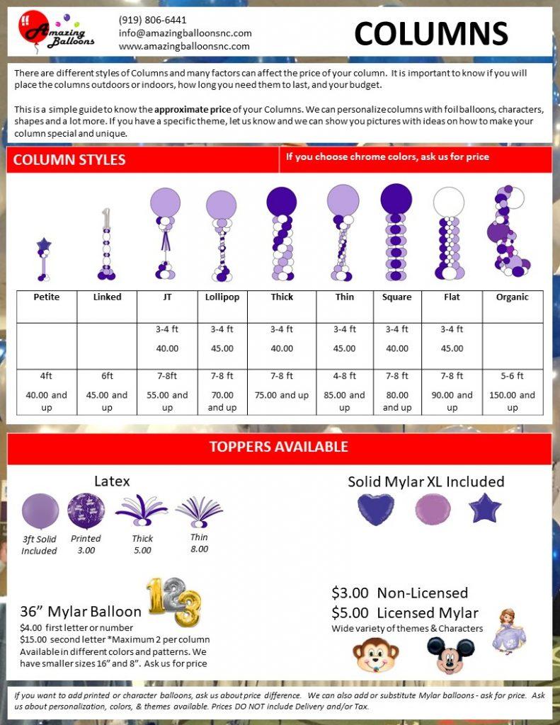 Amazing Balloons - Pricelist